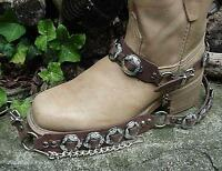 """WESTERN BOOTS BOOT CHAINS """"The Concho Honcho"""" BROWN TOPGRAIN LEATHER, 8 CONCHOS"""