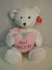 "Russ White Plush Bear with BEST MOM on Heart Pillow Large 15"" when seated NEW"