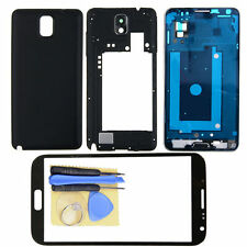 Black Full Housing Cover Case for Samsung Galaxy Note 3 N900 + Outer Glass Lens