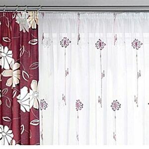 1 Store Vorhang Gardine transparent weiß Stickerei beere Kräuselband H/B 225x450