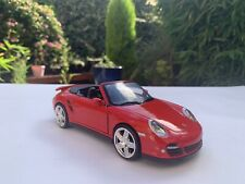 MOTOR MAX PORSCHE 911 TURBO CABRIOLET Collectable Red Convertible Toy Car 1:24