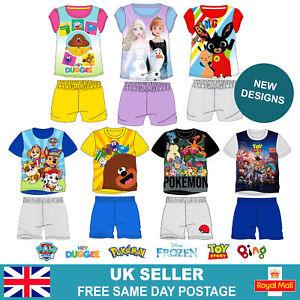 Kids Cartoon Short Pyjamas, Girls Short Sleeve Short Pjs, Boys T-Shirt Short Set