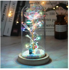 LED Galaxy Rose Flower With Fairy String Lights In Dome For Valentine's Day Gift