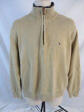 Tommy Hilfiger Mens XL Beige 1/2 Zip Pull Over Long Sleeve Knit Sweater DD304