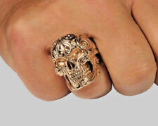 Mexican Sugar Skull 14K Gold Ring Biker Memento Mori Handmade Size 12 UNIQABLE