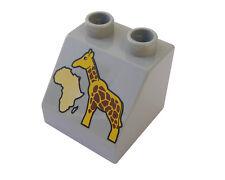 Lego Duplo 4 X Pierre à motif en gris clair GIRAFE ZOO AFRIQUE nature animal