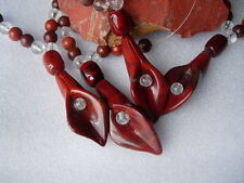 1 - Jasper Red Lily 37mm Long + Jasper/Quartz Beads 5-10mm