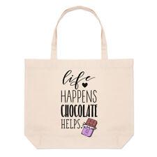 la vida pasa CHOCOLATE Ayuda a Grande Playa Bolsa - Divertido Shopper Hombro