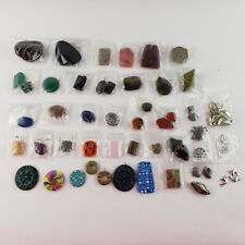 Variety Lot of Jewelry Making Pendant Beads -Stone Glass Clay Metal Multi Colors