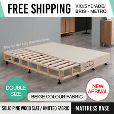 Mattress Base Double Beige Knitted Fabric Washable Cover Pine Wood Slat