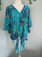 Boho Floral Tie Top Blouse Women's Kimono Sleeve Size Small