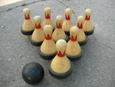 New listing Vintage Brunswick Red Crown Duck Pin Bowling Pins Pegs 10 Pins & 1 Ball