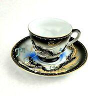 Vintage Japanese Dragonware Lithophane GEISHA Cup Saucer Black and White