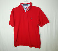 Tommy Hilfiger Short Sleeve Polo Golf Shirt Red Size MEDIUM M Mens Clothing