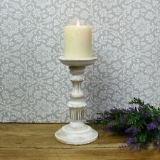 French Vintage Style Wooden Pillar Candlestick Holder. White Washed - 22cm.