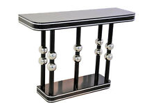 Black Art Deco Console with Chrome Balls