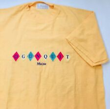 Vintage Ogunquit Maine J America Mens T Short Yellow Embroidered Cotton Size M