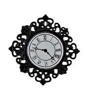 Dolls House Black Filigree Wall Clock Miniature 1:12 Ornament Accessory