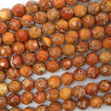 "8mm faceted orange sea sediment jasper round beads 15.5"" strand"