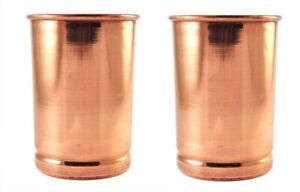 Copper Water Glass Drinking Handmade Tumbler Glass For Health Benefit 2 Pc 300ML