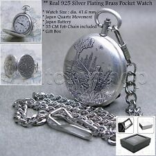Real Silver Plated Antique Fishing Men Quartz Pocket Watch on Chain Gift Box P99