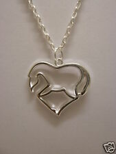 "Heart Horse Pendant With 18"" Silver Plated Necklace"