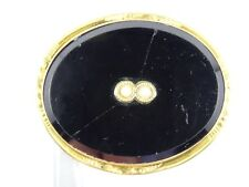 Antique Victorian Onyx w/ Seed Pearl Accent Mourning Pin Brooch ~ 1.25""