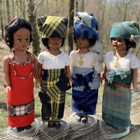 Set of 4 Lee-Dee African Collectable Dolls Traditional Dress Yoruba of W Nigeria