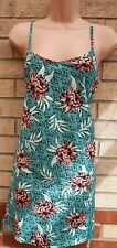 NEW LOOK GREEN SILKY FEEL PINK STRAPPY FLORAL LONG TOP BLOUSE TUNIC CAMI 12 M