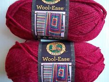 Lion Brand Wool-Ease wool blend yarn, Cranberry, lot of 2 (197 yds each)