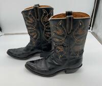 Vtg 50's Dodge City by ACME Cowboy Boots sz 9.5 D Black Inlay