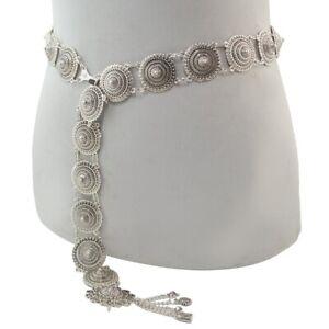 Vintage Silver Waist Chain Bells Metal Tassel Belly Chain Charm Belt Chains