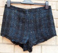 TOPSHOP BLUE BLACK GOLD CHECK TARTAN FRINGE FORMAL HIGH WAIST HOT PANTS SHORTS S