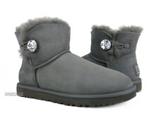 UGG Australia Bailey Button Bling Mini Grey Boots Womens Size 9 *NIB*