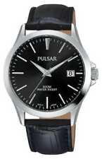 Pulsar Mens Black Alligator Pattern Leather Strap PS9457X1 Watch