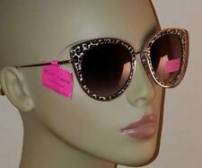 New Betsey Johnson Cat Eye Gold Rimmed Leopard Print Sunglasses