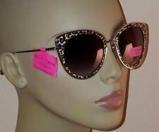 New Betsey Johnson Cat Eye Gold Rimmed Leopard Print Sunglasses