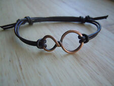 Infinity Bracelet, Brown Leather, Adjustable, Antique Copper, Infinity Jewellery
