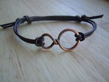 Infinity Bracelet, Brown Leather, Adjustable, Antique Copper, Infinity Jewellery