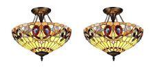 Chloe CH33353VR16-UF2 Tiffany-style 2 Light Semi-flush Ceiling Fixture - 2 Pack