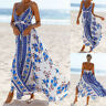 Women Summer V-neck Halter Printed Backless Casual Beach Party Floral Maxi Dress