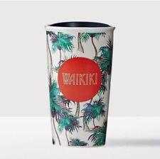 NIB Starbucks Hawaii Waikiki Double Wall Ceramic Travel Tumbler Mug Palm Trees