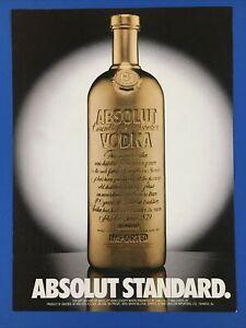RARE 1988 Absolut Standard Gold Bottle Vodka Ad - Tabasco on reverse