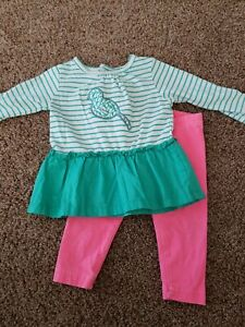 Baby girl Outfit Size 6 Months, Hot Pink pants, Teal Bird Shirt