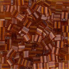 Miyuki Tila TL134 Seed Beads Transparent Dark Topaz 5mm 7.2g (K79/3)