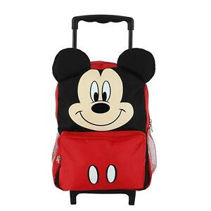 New Disney Kids' 14 Inch Big Face Mickey Mouse Rolling Backpack