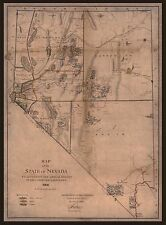 "1866 ANTIQUE MAP OF NEVADA, MINING, antique home decor,  20""x14"" print"