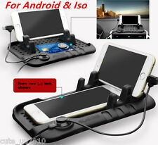 Car Holder Dashboard Stand USB Mount Charger Cradle Non-Slip Mat For Android ISO