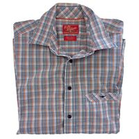 RM Williams Size M Regular Fit Short Sleeve Blue White Orange Check Shirt Mens