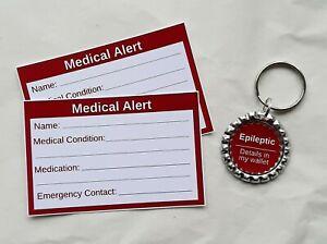 Epileptic Medical Alert Keyring & Cards by Curiosity Crafts